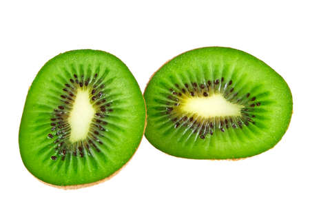 Sliced Kiwi fruit isolated on white background Stock Photo