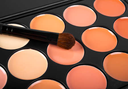 Brush for concealer and a palette of professional makeup concealer,  close up image Stock Photo