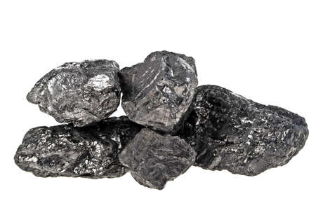Pile of coal isolated on a white background Stock Photo