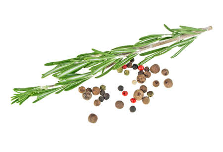 Rosemary and peppercorns on a white background, closeup
