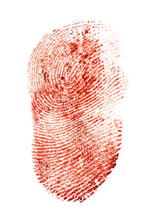 Bloody fingerprint on a white background Stock Photo