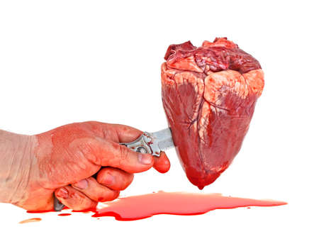 Bloody hand holds a knife and heart. Image on a white background.