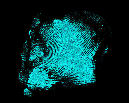 Fingerprint on black background. Fingerprint with ultraviolet lamp. Reklamní fotografie