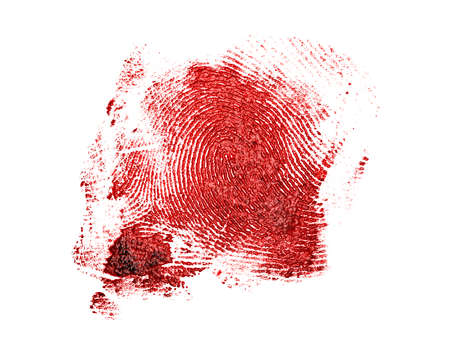 odcisk kciuka: Bloody fingerprint on a white background Zdjęcie Seryjne