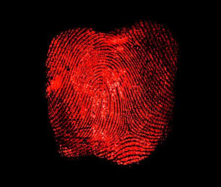 Red fingerprint on black background