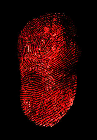 Red fingerprint on black background