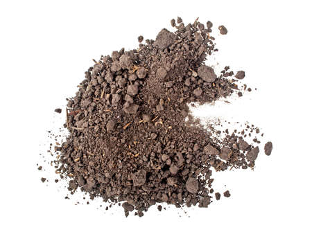 Pile heap of soil humus isolated on white background, top view Stockfoto