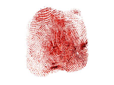 fingermark: Bloody fingerprint on a white background Stock Photo
