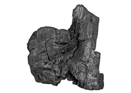 combust: Hardwood charcoal isolated on a white background Stock Photo