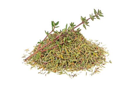 Dried thyme and thyme sprig isolated on white background