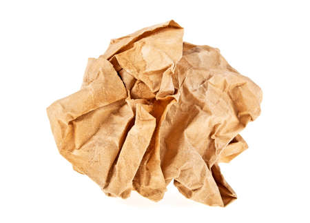 Crumpled brown paper on white background Stock Photo