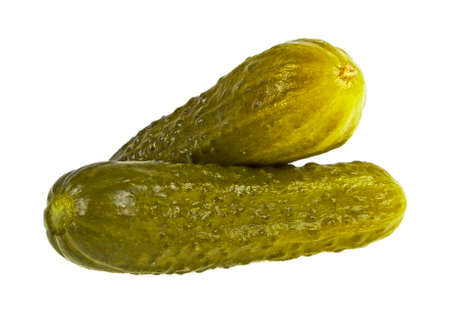 Two marinated pickled cucumbers isolated on white background Zdjęcie Seryjne - 78949272