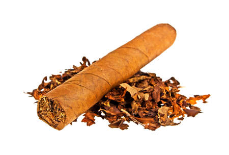 Heap of tobacco and cigar isolated on a white background