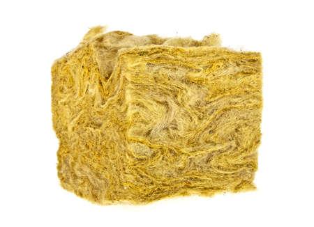 fibra de vidrio: Pieza de lana de vidrio sobre un fondo blanco