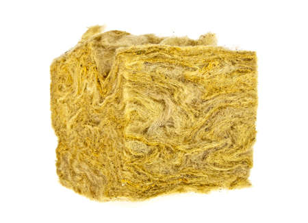 Piece of glass wool on a white background