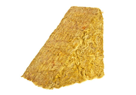 Piece of yellow fiberglass insulation mat isolated on white background