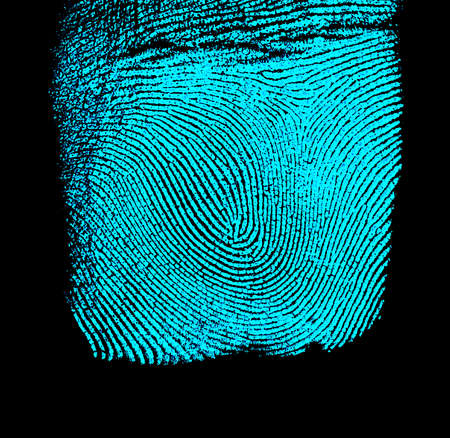 odcisk kciuka: Fingerprint on black background. Fingerprint with ultraviolet lamp. Zdjęcie Seryjne