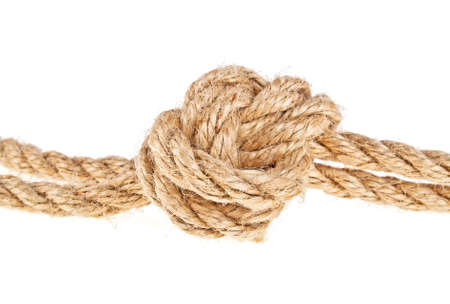 gefesselt: Rope knot isolated on a white background