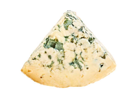 stilton: Wedge of soft blue cheese with mold isolated on white background