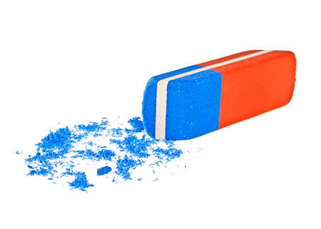 Colored office eraser on a white background