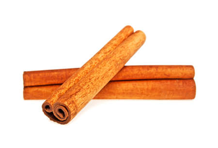 Two cinnamon sticks spice isolated on a white background, closeup Stock Photo