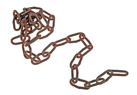 Old metal chain on a white background Stock Photo