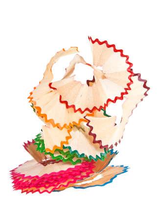 Kleurrijke potloodspaanders op een witte achtergrond Stockfoto