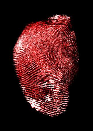 bloody hand print: Red fingerprint on black background, bloody fingerprint.