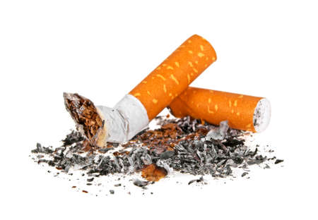 Cigarette butts with ash isolated on a white background