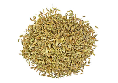 Fennel dry seeds isolated on a white background, top view Stock Photo