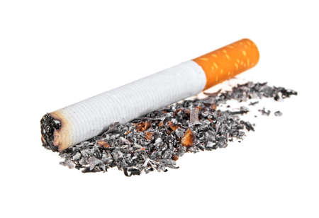 Cigarette butt with ash isolated on a white background Stock Photo