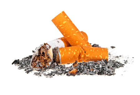 Cigarette butts with ash on a white background
