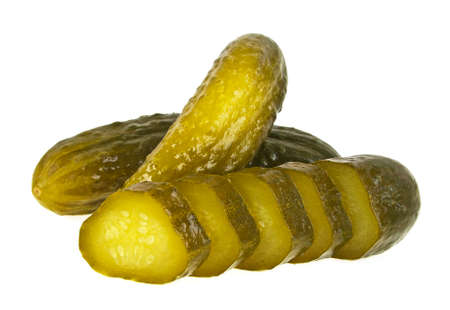 Pickled cucumbers and slices isolated on white background, close up