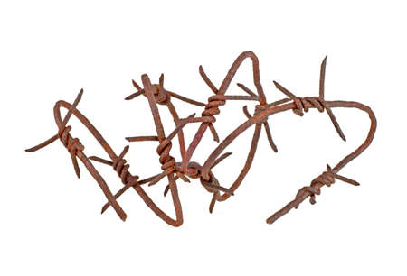 Isolated barbed wire on a white background Stock Photo