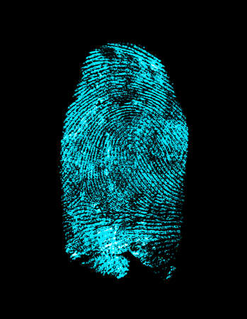 Fingerprint on black background. Fingerprint with ultraviolet lamp. Stock Photo