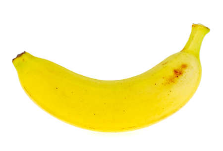 One yellow banana isolated on white background