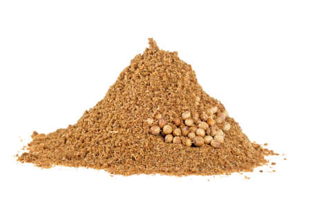 Seeds and powder of coriander spice on white background Stockfoto