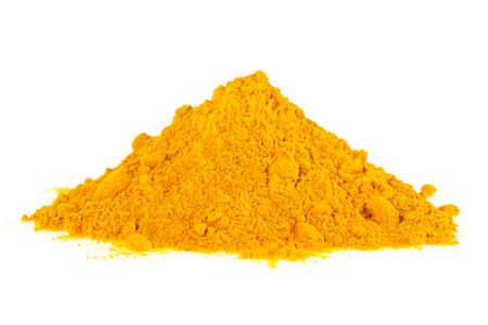 Turmeric powder isolated on a white background. Curcuma powder. Stock Photo