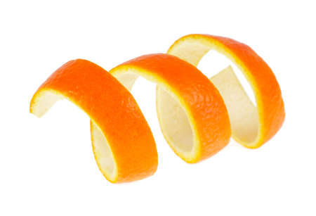 Peel of orange, white background