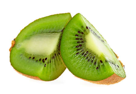 Fresh slices kiwi fruit on a white background