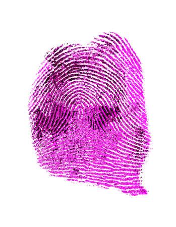 Fingerprint over white background, violet color Stock Photo
