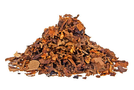 Dried smoking tobacco isolated on a white background Foto de archivo