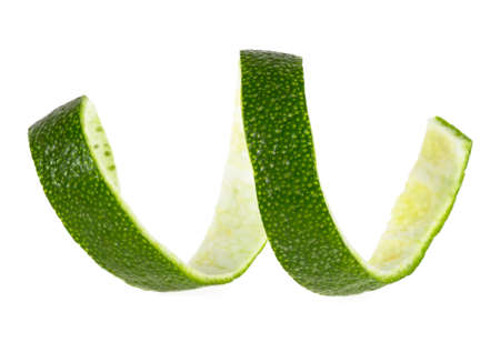 Lime peel against white background