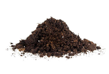 Pile of soil isolated on a white background