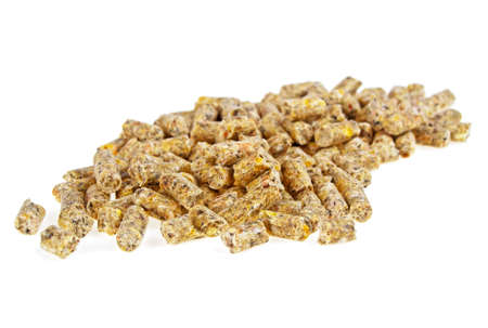 Pelleted compound feed Isolated on white background
