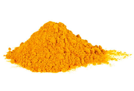 Turmeric (Curcuma) powder isolated on a white background Banco de Imagens - 94849419