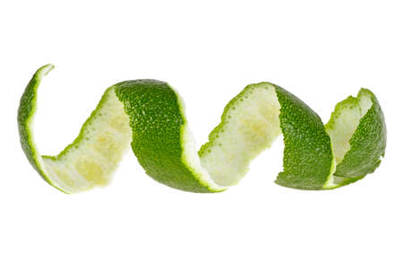 Lime skin isolated on white background Фото со стока