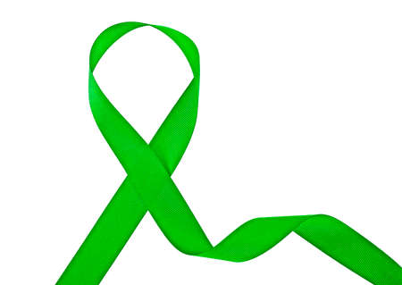 Green awareness ribbon isolated on a white background