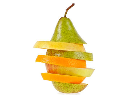 Mixed fruit on a white background