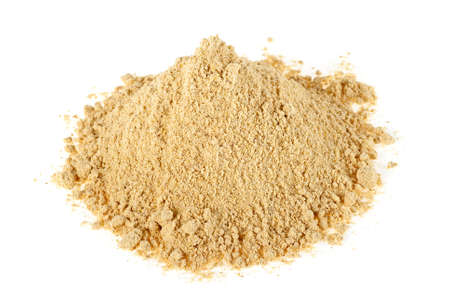 Heap of ginger powder isolated on white background